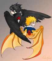 naruto- sasunaru with wings by askerian