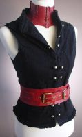 Red leather Steampunk Belt by Trinitynavar