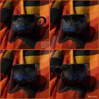 Black tea mug with a bat by theOlven
