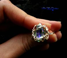 Fairy Crystal Ring - Square Wire Wrap Rainbow 7.5 by LadyPirotessa
