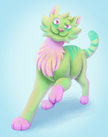 The Green and Pink Cat by Calorful