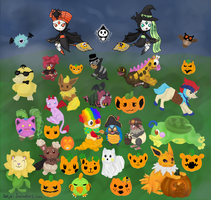 Pokemon Halloween by sorjei