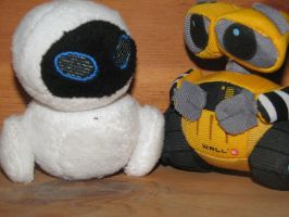 WALL-E and EVE Plushies by FireAwayEve