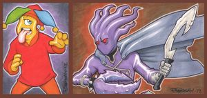 CYjester and Glyph Sketch Card Commissions by BillMcKay
