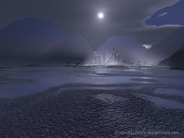 Moon Over The City by 1footonthedawn