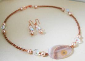 Peach Lace agate Necklace Set by sweetdream20