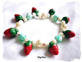 Summer Strawberry Bracelet by Cateaclysmic