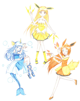 Eeveelution trio by AkumaToTenshi