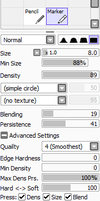 Marker brush settings by xenthyl