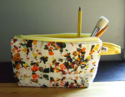 Pochette - etuit, blanc, orange et jaune by Emillye