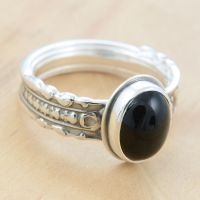 Black Onyx Spoon Ring size 7 by metalsmitten