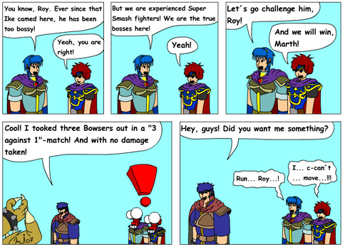 Roy and Marth vs Ike by Kurvos
