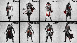 Altair to Arno Assassin's Creed Unity BlackNWhite by AkNiazi