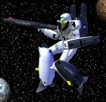 Robotech robot in space by Gustvoc