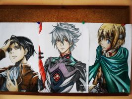 Rivaille, Kaworu and Armin by DoreiShounen
