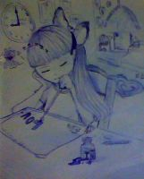 Sleeping while drawing '_' by TheMangaBoy
