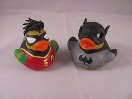 Batman and Robin Ducks by spongekitty