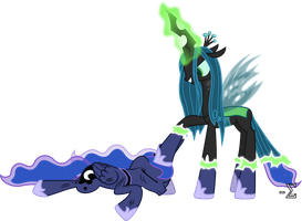 Chrysalis Impersonates Princess Luna by 90Sigma