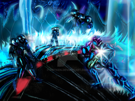 Samus vs Dark Samus by kritken