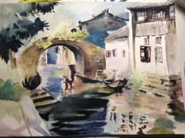 Painting of a Painting of Bridge over Water by YukiraNine