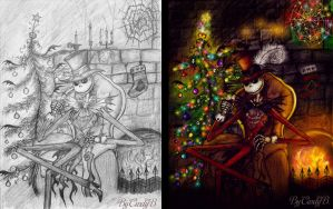 Scary Christmas sketch and color by Cindy-Brilliant