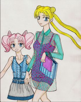 Usagi-chan's Day Out with Chibiusa by Podansk