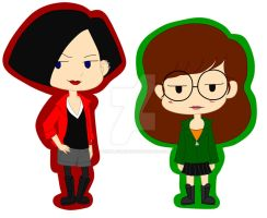 Jane and Daria Chibis by pinkplaidrobot