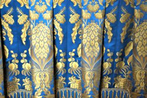Versaille Blue and gold fabric by ApteryxStock