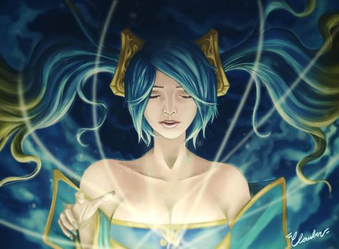 Fantart: Sona! Her melodies moves the soul by Binho01