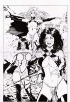 she hulk, goblin queen e spide by amorimcomicart