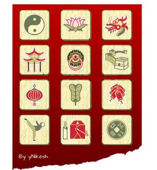 Traditional Chinese Culture Vectors Icons by Ynikesh