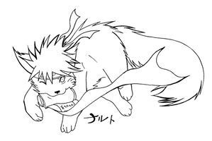 naru wolf lineart by kyuubifred