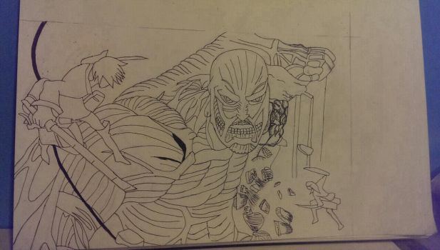 Eren Jaeger vs Colossal Titan by TheEye15