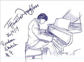 Random Sketch #7- Guy at the Piano by IHaveTheWrongGlass