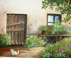 cottage with cat-2 by Hydrangeas