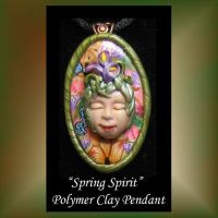 Spring Spirit Polymer Clay Pendant by KabiDesigns