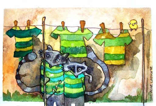 Raccoon Laundry Day by Yuujin