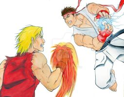 Ken Vs. Ryu - Blank watercolor by SurfTiki