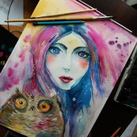 girl and owl by bemain