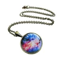 Antique Bronze Blue Pink Colorful Nebula Necklace by crystaland