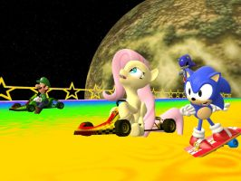 Fluttershy on Rainbow Road by sp19047
