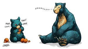 Munchlax and Snorlax by Heri-Shinato