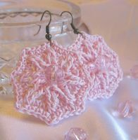 Pink Star Earrings by doilydeas