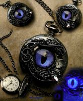 Black Pewter - Violet Dragon Eye Pocket Watch Time by LadyPirotessa