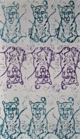 Blue + Purple on White Snow Leopard Repeat Lino by Erinwolf1997