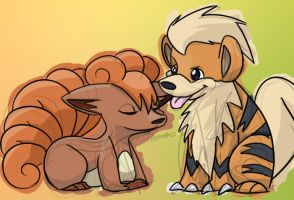Vulpix and Growlithe by skeletall