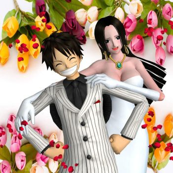 Luffy and Hancock at wedding by TheForgottenSaint47