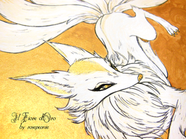 Illustration - Nine-tailed fox leaping (detail) by rosepeonie