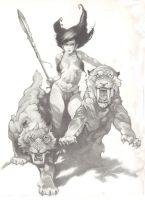 Frazetta study Girl with cats by makjr