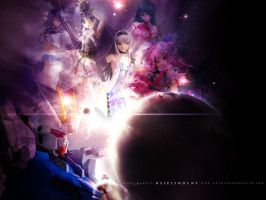 Gundam and figures in space 2 by killer0178